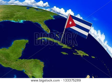 Flag marker over country of Cuba on world map 3D rendering, parts of this image furnished by NASA