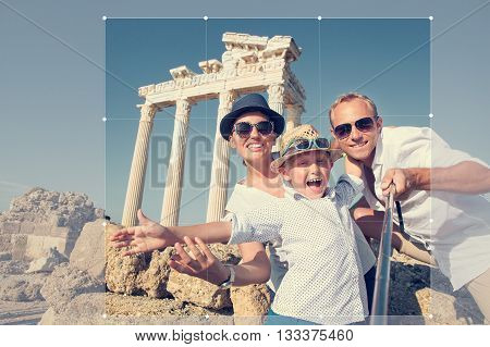Cropping picture of positive young family for share in social network. Temple of ApolloSideTurkey