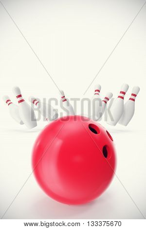 Red bowling ball in the foreground with the pins away, 3d illustration