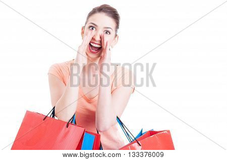 Young Lady Shopper Shouting Or Yelling Sales Concept