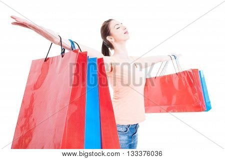 Shopping Woman Satisfied And Happy Having Arms Wide Opened Concept