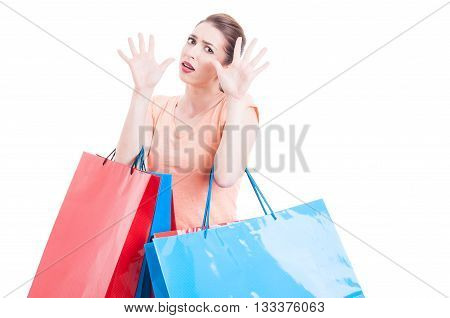 Woman Carrying Shopping Feeling Scared Or Afraid