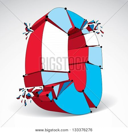 Abstract 3d faceted zero number with connected black lines and dots. Vector low poly shattered design element with fragments and particles. Explosion effect.