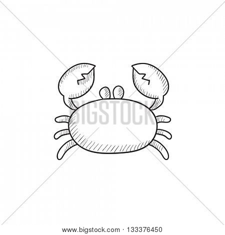 Crab vector sketch icon isolated on background. Hand drawn Crab icon. Crab sketch icon for infographic, website or app.