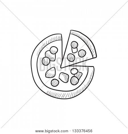 Whole pizza with slice vector sketch icon isolated on background. Hand drawn Whole pizza with slice icon. Whole pizza with slice sketch icon for infographic, website or app.