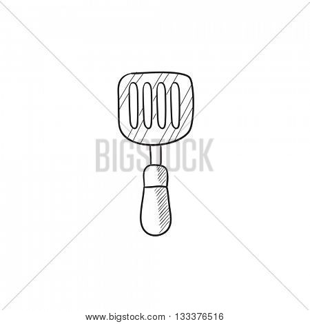 Kitchen spatula vector sketch icon isolated on background. Hand drawn Kitchen spatula icon. Kitchen spatula sketch icon for infographic, website or app.