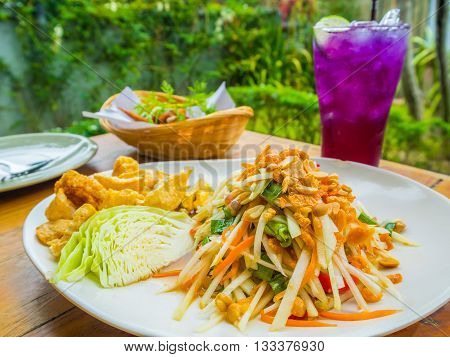 Thai food culture. Papaya salad or what we called