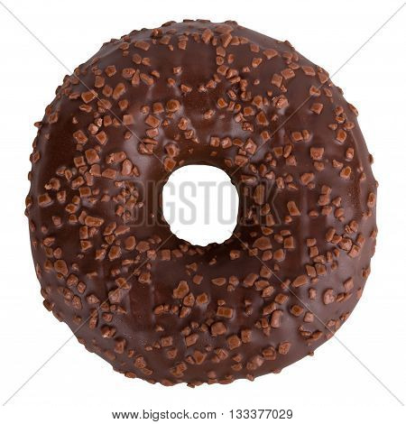 Delicious Dark Chocolate Donut With Sprinkles Isolated On White Background