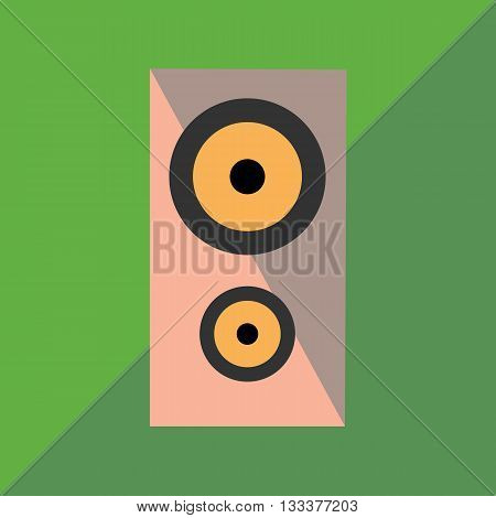 Audio speaker on the two-color background image in style flat