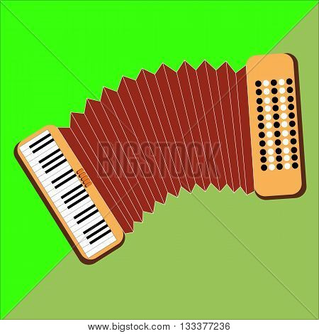 Accordion on the two-color background image in style flat