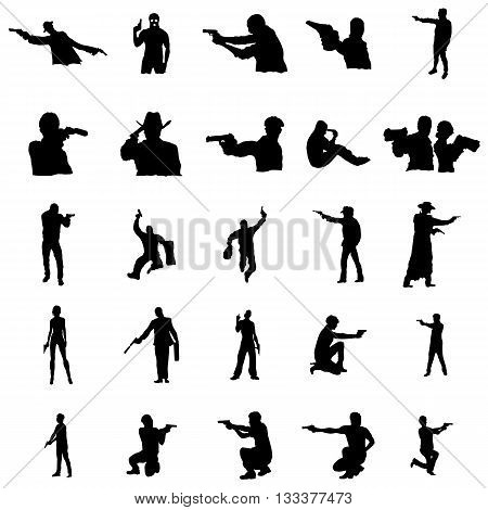 Silhouettes of people in different poses with firearms black