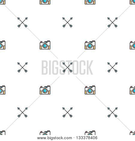 Seamles geometric line pattern with cameras and arrows, vector illustration