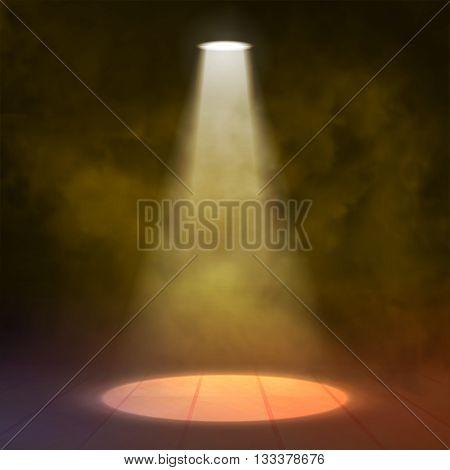 Floodlight Spotlight illuminates wooden scene. Yellow orange. Vector illustartion