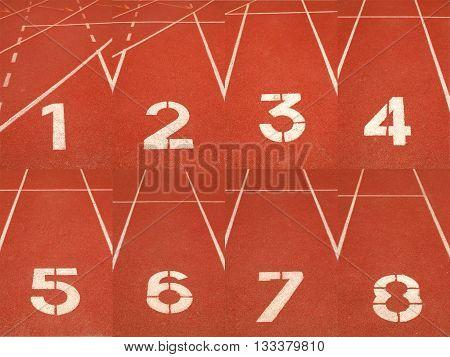 1-8 lanes on running track finish line