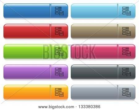 Set of backup glossy color menu buttons with engraved icons