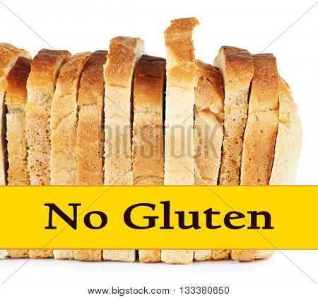 Sliced bread and text No Gluten isolated on white background