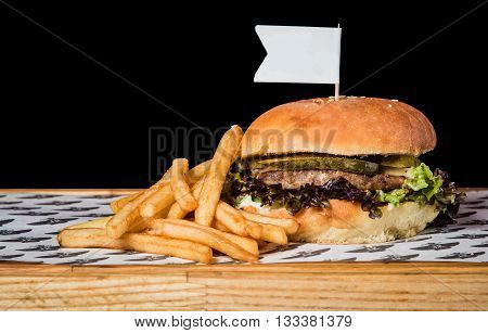 Bread, salat, potatoes, beef, cucumber, board, cheese, hamburger, food