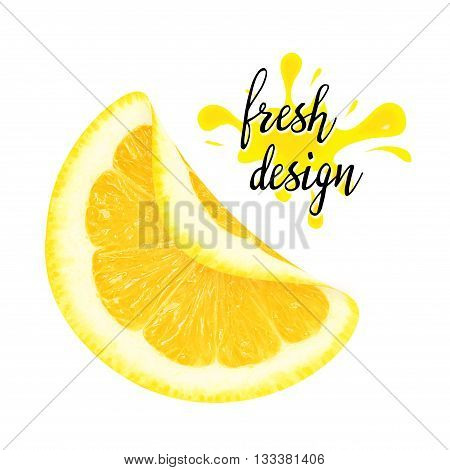 Juicy yellow curved piece of lemon on a white background isolated. Design element for product label, sticker, catalog print, web use.