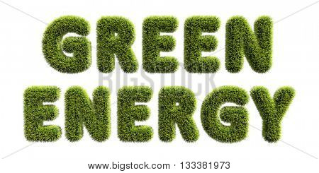 Green energy text covered with green grass isolated on white background. Green energy concept 3D illustration.