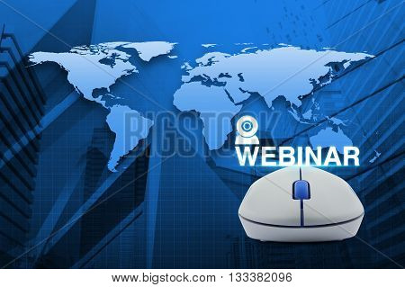 Wireless computer mouse with webinar icon over map and city tower background Seminar online concept Elements of this image furnished by NASA