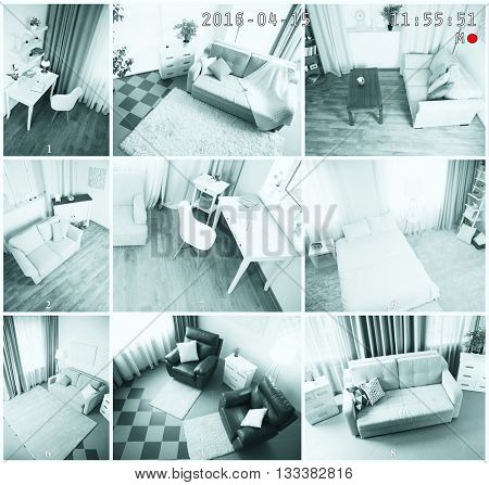 Security CCTV camera in home. Home security system concept
