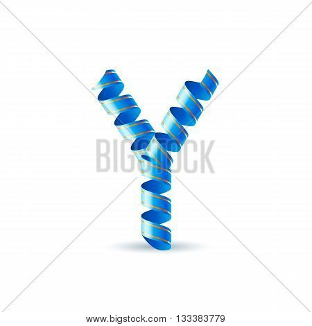 Letter Y made of blue curled shiny ribbon