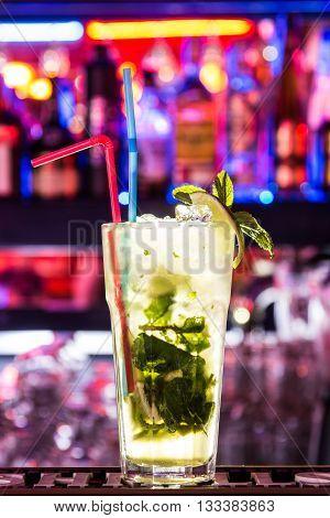 Mohito, Sex on the beach. Ice. Bar. Neon.