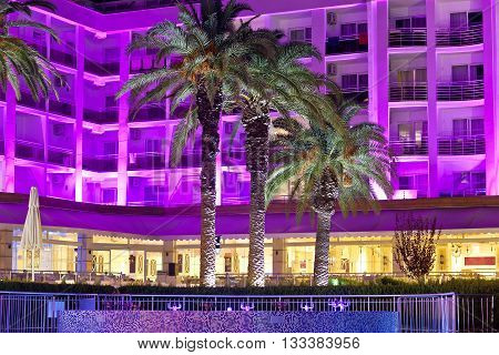 The building of the resort hotel in the evening. Marmaris. Turkey.