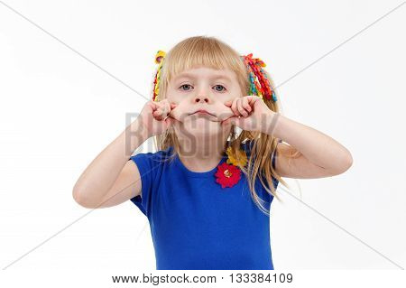 Funny Little Blond Preschooler With Two Tails Making Sad Grimace