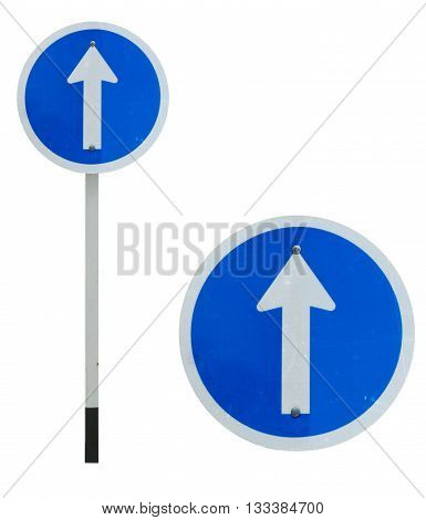 One way traffic sign isolated on white color background