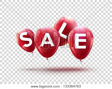 Flying balloons, concept of SALE for shops. Four red flying party balloons isolated with text SALE on transparent. Sale discount concept vector illustration.
