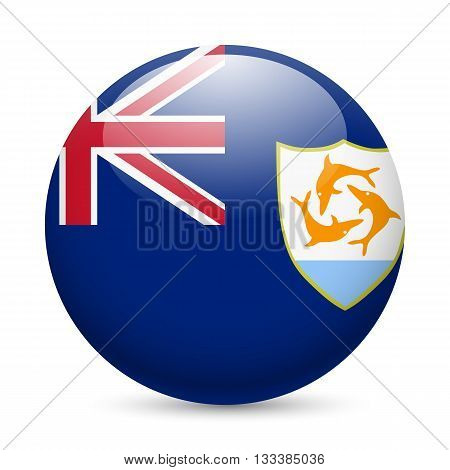 A round badge in the colours of Anguilla flag.