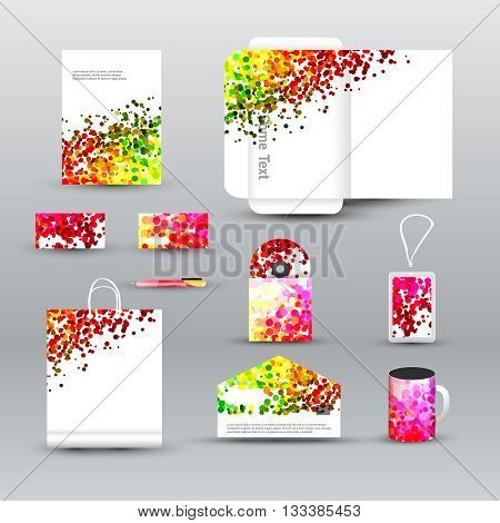 Corporate identity template with dotted background. Vector company dots style for brandbook and guideline, pen, cd disc, cup, letter, business cards