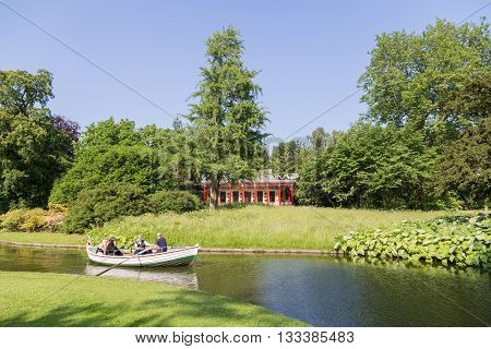Frederiksberg, Denmark - June 07, 2016: People on a rowboat tour in Frederiksberg Park.