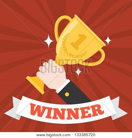hand holding gold trophy cup with winner ribbon, the winner of business concept , flat design