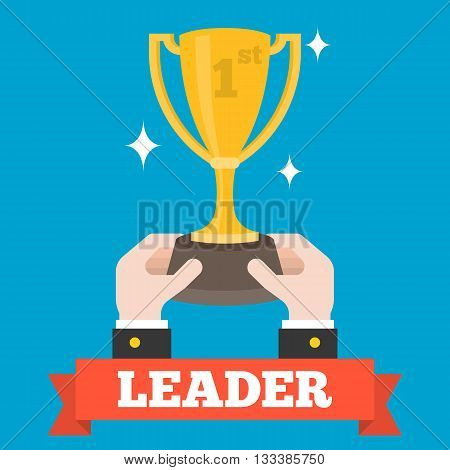 Business hand holding golden cup trophy as a winner of competition with leader ribbon, Winner and leader company concept, flat design