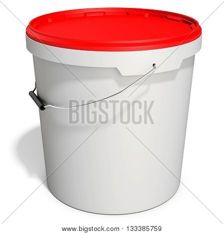 3D White Food Plastic Tub Bucket Container With Lid Cap,  Product Packing