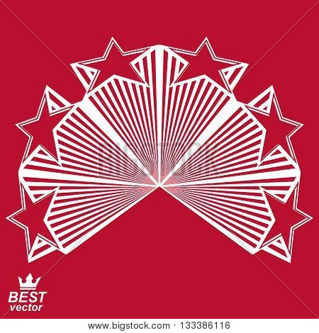 Vector stylized design element celebrative perspective pentagonal stars web emblem.