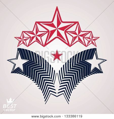 Vector noble corporate 3d symbol. Web and graphic design emblem with five pentagonal stars