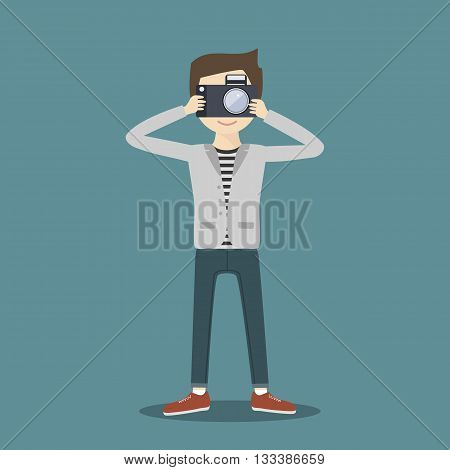 Hipster man photographer with camera. Vector illustration flat character. Traveller, journalist, reporter at work.