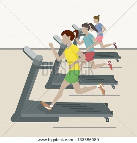 Treadmill. Women at the gym. Vector flat design illustration. Sports, exercises