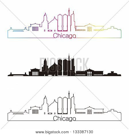 Chicago skyline linear style with rainbow in editable vector file