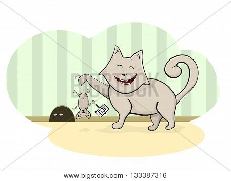 Cat caught mouse, happy fat cat caught a mouse near the mink, the mouse asks for help, illustration.