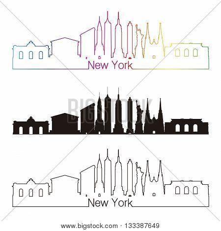 New York skyline linear style with rainbow in editable vector file
