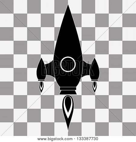 Vector black Rocket icon on transparency background