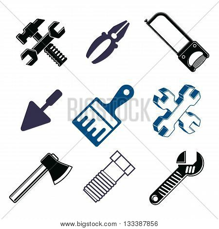 Work tools collection vector repair instruments for carpentry and manufacturing.