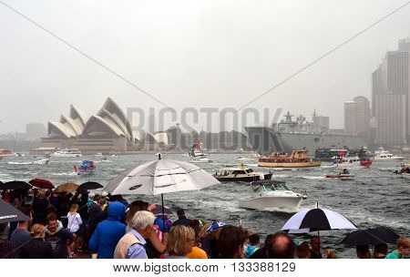Sydney, Australia - Jan 26, 2015. Ferry race in the harbour on Australia day.  Ferrython, one of Australia's most popular and iconic free events.