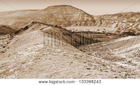 Rocky Hills of the Negev Desert in Israel Vintage Style Sepia