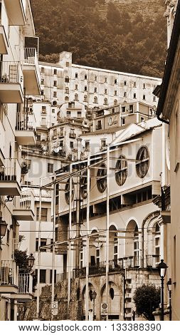 View of the Medieval City of Salerno in Italy Vintage Style Sepia