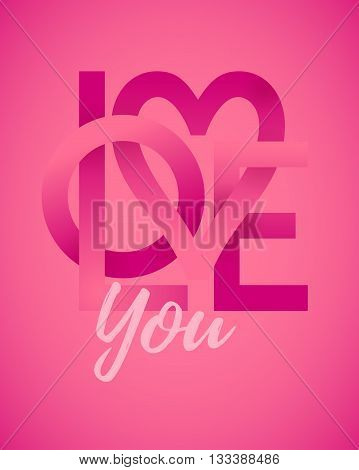Love You. Single word. Vector lettering. Eps10. RGB. Global colors
